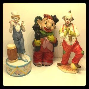 🤡 Vintage Ceramic Clowns Music Box Decor